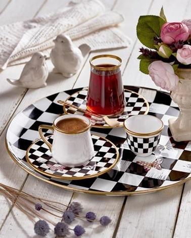 Glore Tarabya Emma 6Lı Kulplu Çay Seti Renkli